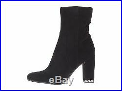 10m Michael Kors Dolores Bootie Black Suede Leather Mk Logo Women's Heels Shoes