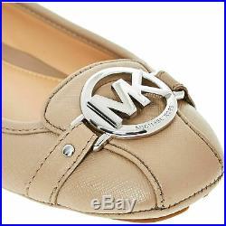 £110 MICHAEL KORS Designer Beige Fulton Moc Flat SlipOn Ballerina Shoes UK 4-5.5