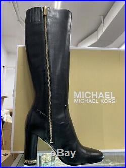 $275 Michael Kors Walker Black Leather Tall Heel Boots Size US 6.5M