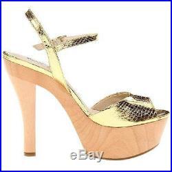 $295 Michael Kors Iden Platform Sandals, Women's Shoes, Gold Snake 6US-10US
