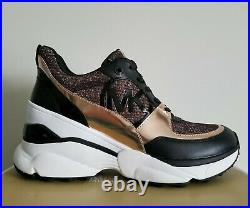 2Michael KORS MICKEY Iconic Rose Gold Lurex MK Logo Sneakers US 11 I LOVE SHOES