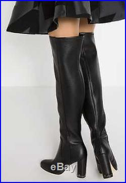 $325 size 6 Michael Kors Sabrina Over The Knee Heel Black Leather Womens Boots