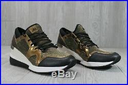 49 New Michael Kors Liv Trainer Women's Shoes Gold Black Chain Mesh SZ 6.5 7.5 8