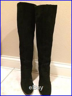 6.5 Michael Kors Black Leather Suede Knee High Boots Stacked Heel