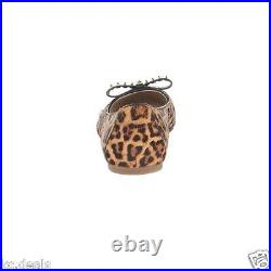 6 7 8 Michael Kors Devin Ballet Cheetah Haircalf Bow Studs Women's Slip On Shoes