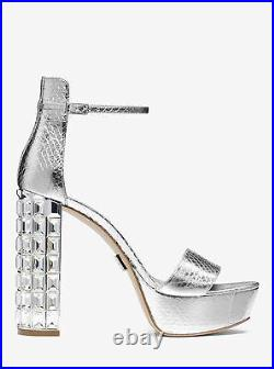 $795 Michael Kors Chunky Crystal Heel Nikki Silver Sandal Shoe 8 38 Pump