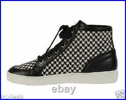 8 9.5 Michael Kors Keaton High Top Black White Haircalf Mk Logo Women Boot Shoes