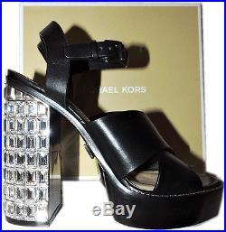 $895 Michael Kors Chunky Crystal Heel Janet Runway Sandal Shoe 9 39.5 Pump