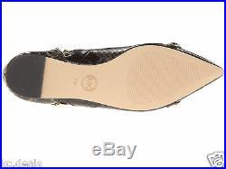9.5 10 Michael Kors Ella Flat Embossed Leather Chocolate Stud Pump Slip On Shoes