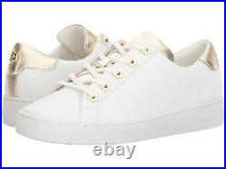 9.5m Michael Kors Irving Lace Up Leather Women's White Gold Flat Shoes Sneakers