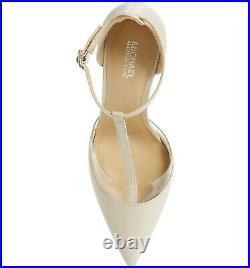 9.5m Michael Kors Renata Pump Optic Soft White Women's Ankle Strap Heels Shoes