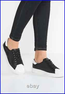 9m Michael Kors Frankie Sneakers Black White Leather Womens Boat Flat Shoes