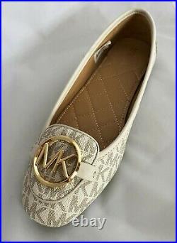 BNIB Michael Kors Cream Gold Lily Logo Moccasin Pumps Shoes Size 3 RRP £110