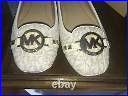 BNWB MICHAEL KORS WOMEN'S FULTON MK LOGO VANILLA PUMPS SIZE UK 8 shoes flats