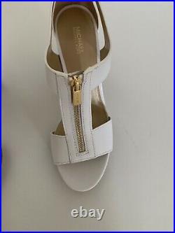 BNWT White Michael Kors Toeless Platform Shoes with Gold Zip UK7/USA9