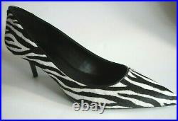 BRAND NEW MICHAEL KORS Size 10M White Black Leather Cow Fur Heel Pumps Shoes