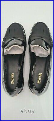 Bnib Micheal Kors Women's Black Patent Leather Loafers Shoes 4.5/37.5 Rrp £150