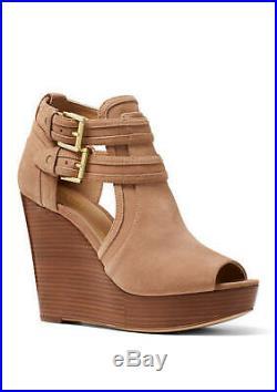 Brand New $165 Michael Michael Kors Dark Khaki Blaze Wedge Peep-toe Sandal