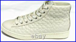 Coach Women's C204 Signature High Top Sneakers Shoes Chalk 7.5 NEW IN BOX