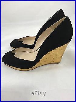 Kors by Michael Kors Suede Peep Toe Gold Cork Wedges in Black Size 8M
