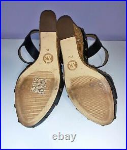 L@@K Michael Kors Ellen Wedge Leather Shoes Dark Navy Blue size 11 worn once