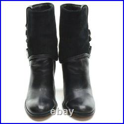 Ladies Michael Kors Fulton Signature Logo Boots 8 M Black High Heel Bootie Shoes