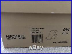 Ladies Michael Kors Mira Open Toe Shoes Boot Dark Caramel Brown Size 6.5