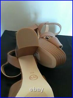 M Michael Kors Womens Camel Platform Sandal Heels Shoes Sz 8.5 NEW