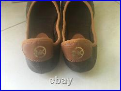MICHAEL KORS 220$ new soft leather brown logo padded flats shoes ballerinas 38 8