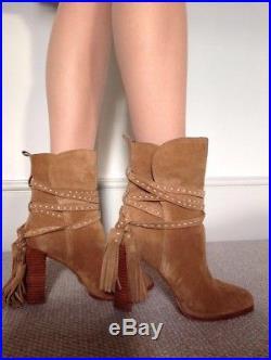 MICHAEL KORS (£247.50) Saddle Camel Brown Suede Tasseled Ankle Boots Sz 4 / 37