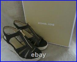 MICHAEL KORS 40S7BRMS1B Berkley Wedge Brown Mini MK Logo US 9 M EUR 39 Shoes NWB