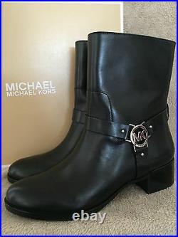 MICHAEL KORS 40T5TUME5L Turner Black Leather Ankle Boots Shoes Size US 9 M NWB