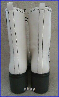 MICHAEL KORS Anaka Bootie Lt Cream Leather Lace Combat Boots Shoes US 8.5 M NWB