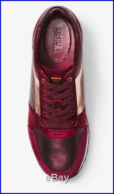 MICHAEL KORS Billie Metallic Leather Satin Sneaker 43F8BIFS1M RSGLD/MAROON US 8
