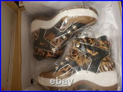 MICHAEL KORS Brooke boot Wedge Sneakers Shoes 7 7.5 animal red leopard camel