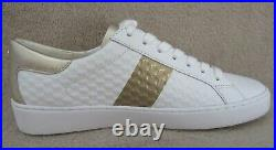 MICHAEL KORS Colby Embossed Leather Gold Stripe Sneaker Shoes US 8.5 M EU 39 NWB