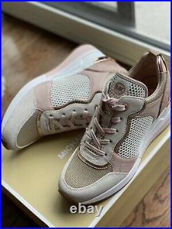 MICHAEL KORS Crista Mixed-Media Trainer Sneaker Athletic Shoes Rose Gold US 8