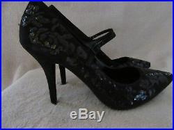 MICHAEL KORS Flex Mary Jane Suede Sequin Lace Heels Shoes US 7.5 M EUR 38 NWB