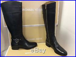 MICHAEL KORS Fulton Harness Leather 14 Inch Womens Boots, Size UK 3 / EUR 36
