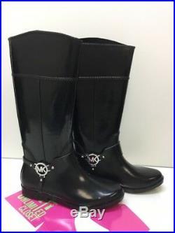 MICHAEL KORS Fulton Harness Tall Black Rubber Rain Boots Womens Size 10 M