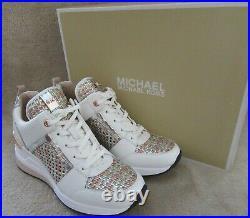 MICHAEL KORS Georgie Trainer Metallic Woven Leather Rose Gold Shoes US 7 M NWB