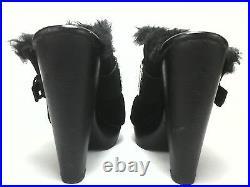 MICHAEL KORS Heels Clogs Mules SHOES Black Suede Fur Sexy US 7.5 EU 39.5 $189