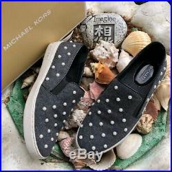 MICHAEL KORS Keaton Gray Embellished Flannel Sneaker Slip On Shoes Size 9 NEW