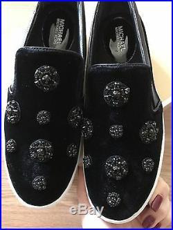 MICHAEL KORS Keaton Slip On 8 Black Crystal Velvet Sneaker Shoes SOLD OUT NEW