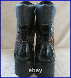 MICHAEL KORS Khloe Leopard Print Haircalf Leather Combat Boots Shoes US 9 M NWB