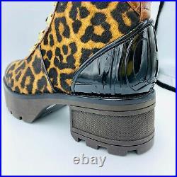 MICHAEL KORS Khloe Mixed Media Calf Hair Leather Combat Boots Shoes US 7M & 7.5M