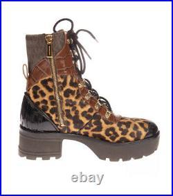 MICHAEL KORS Khloe Mixed Media Calf Hair Leather Combat Boots Shoes US 8 M NIB