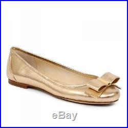 MICHAEL KORS Kiera Pale Gold Leather Ballet Flats 6, 7, 8, 7.5, 9.5 NIB $125