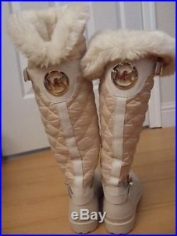 MICHAEL KORS LOGO MK women rain boots BEIGE FAUX FUR New sz 10 M