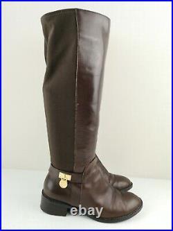 MICHAEL KORS MK Designer Brown Leather Knee High Heel Shoe Boot Size 4.5 37.5